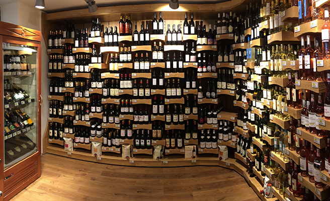 Sherpa supermarket Chamonix wine cellar