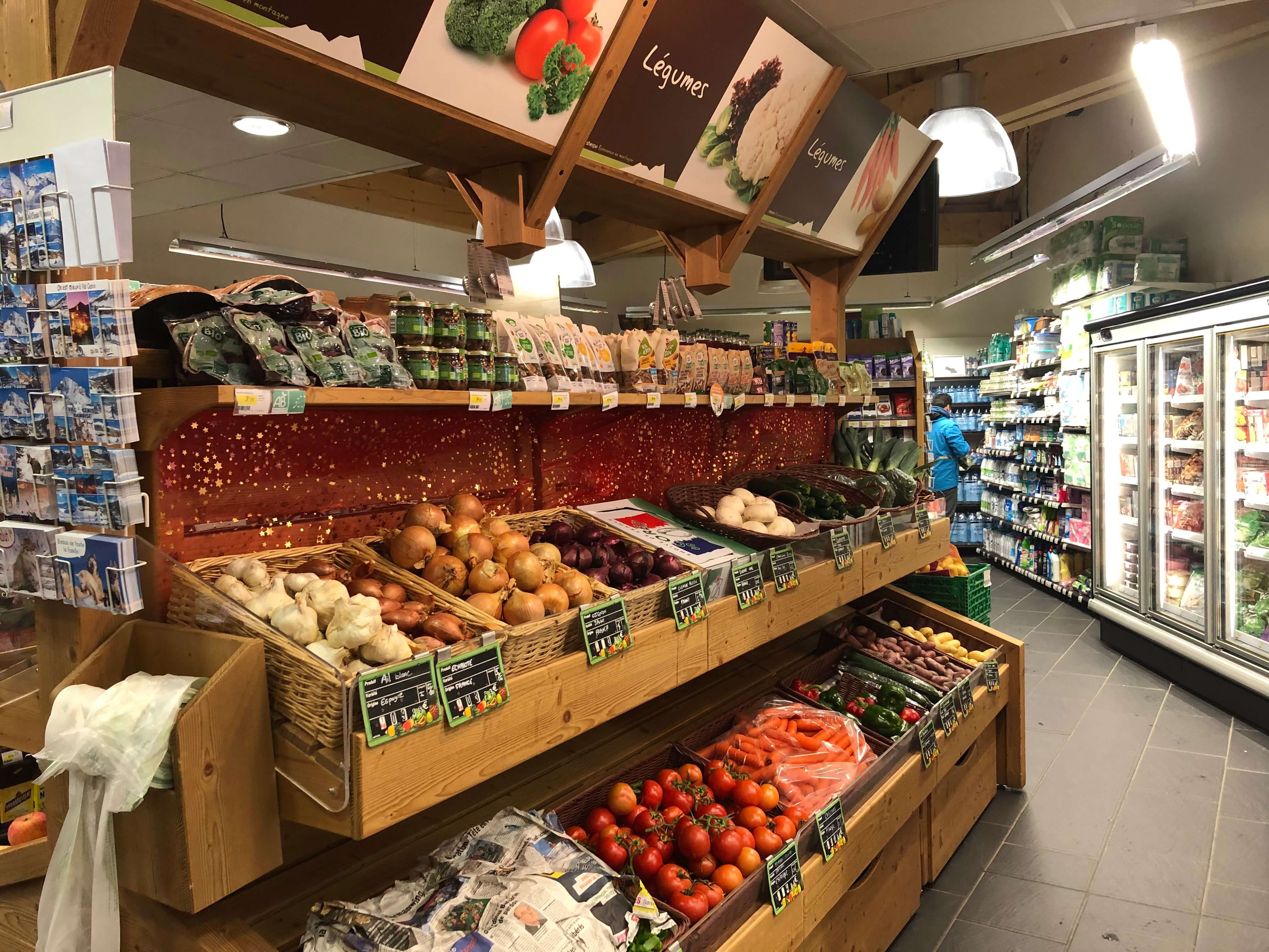Sherpa supermarket Val Cenis - les champs fruits and vegetables