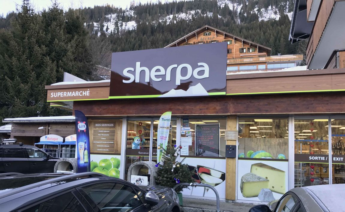 Sherpa supermarket Châtel entrance