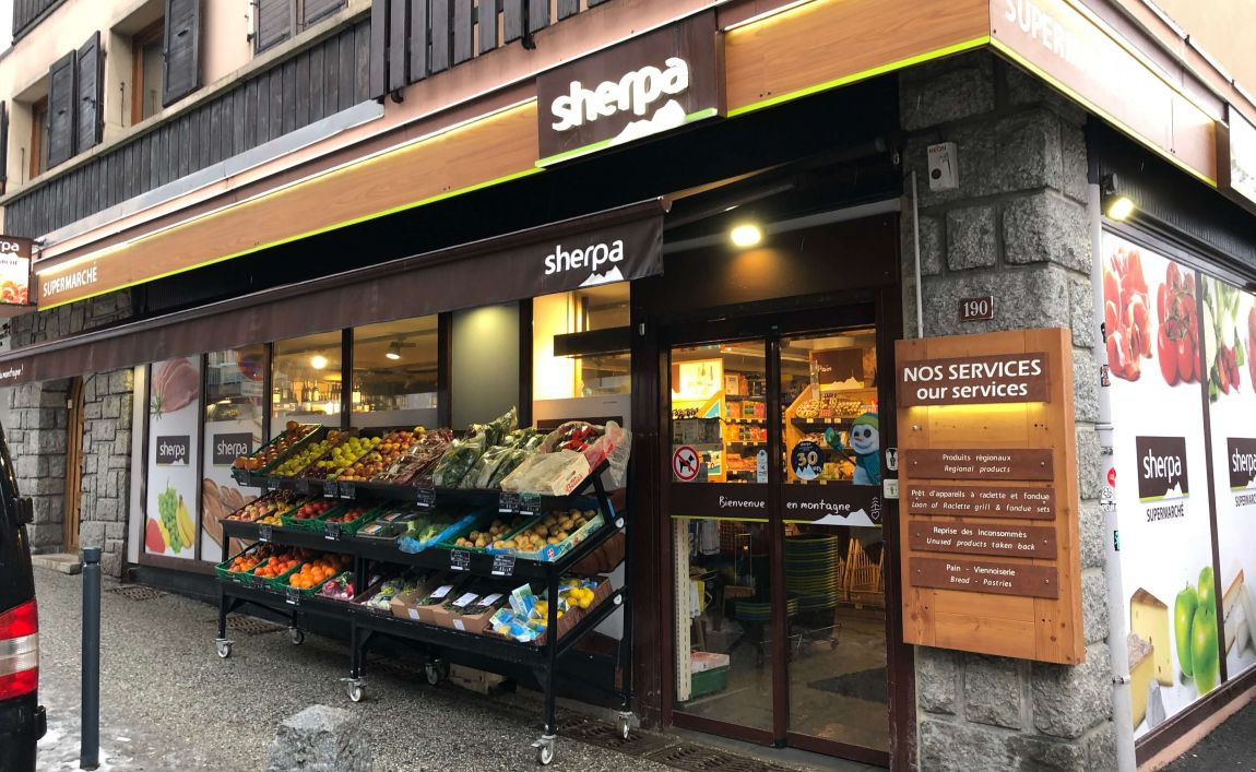 Sherpa supermarket Chamonix entrance